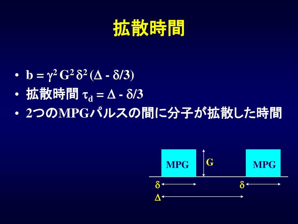 拡散時間 b = g2 G2 d2 (D - d/3) 拡散時間 td = D - d/3 2つのMPGパルスの間に分子が拡散した時間 G