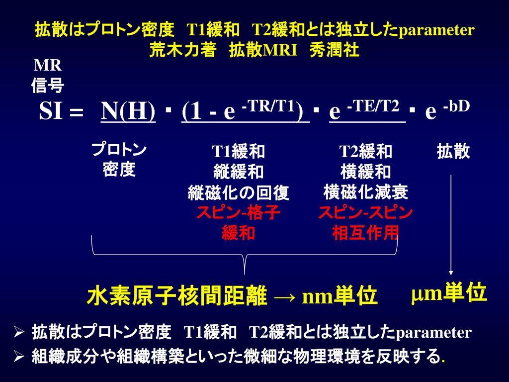 拡散はプロトン密度 T1緩和 T2緩和とは独立したparameter 荒木力著 拡散MRI 秀潤社