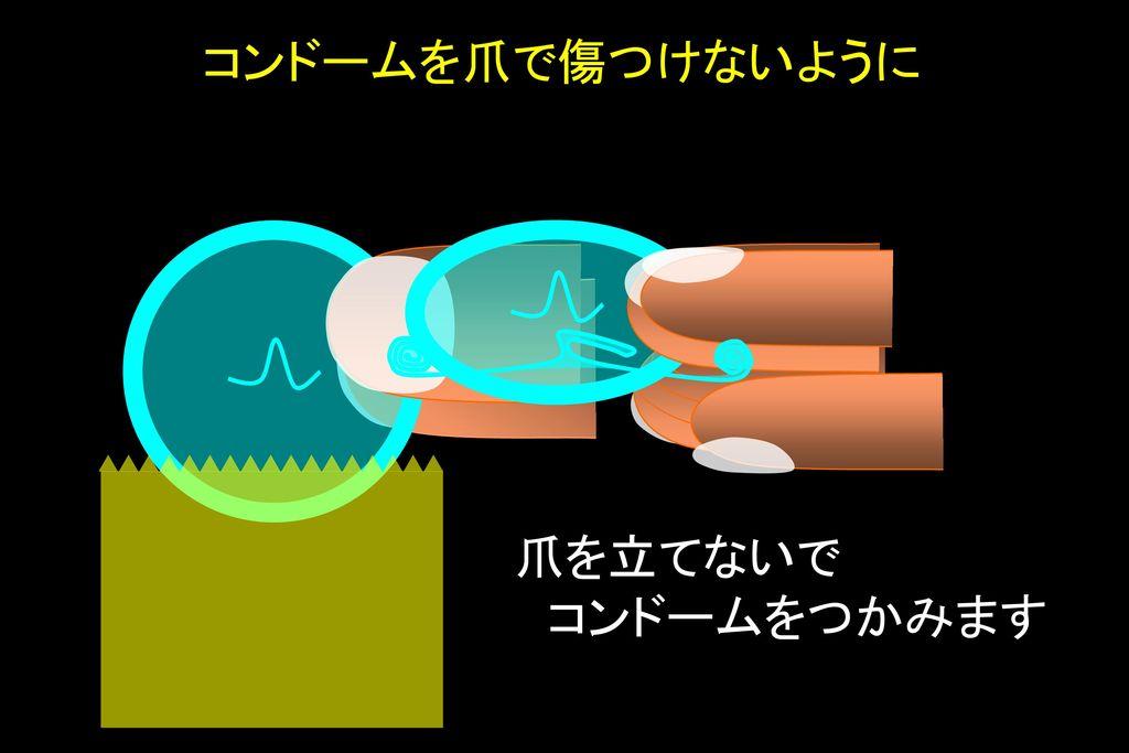 コンドームを爪で傷つけないように 爪を立てないで コンドームをつかみます