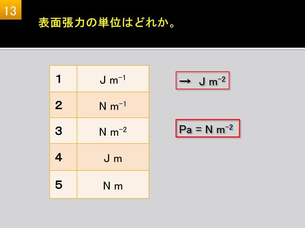 13 表面張力の単位はどれか。 1 J m-1 2 N m-1 3 N m-2 4 J m 5 N m 1 J m-1 2 N m-1 3