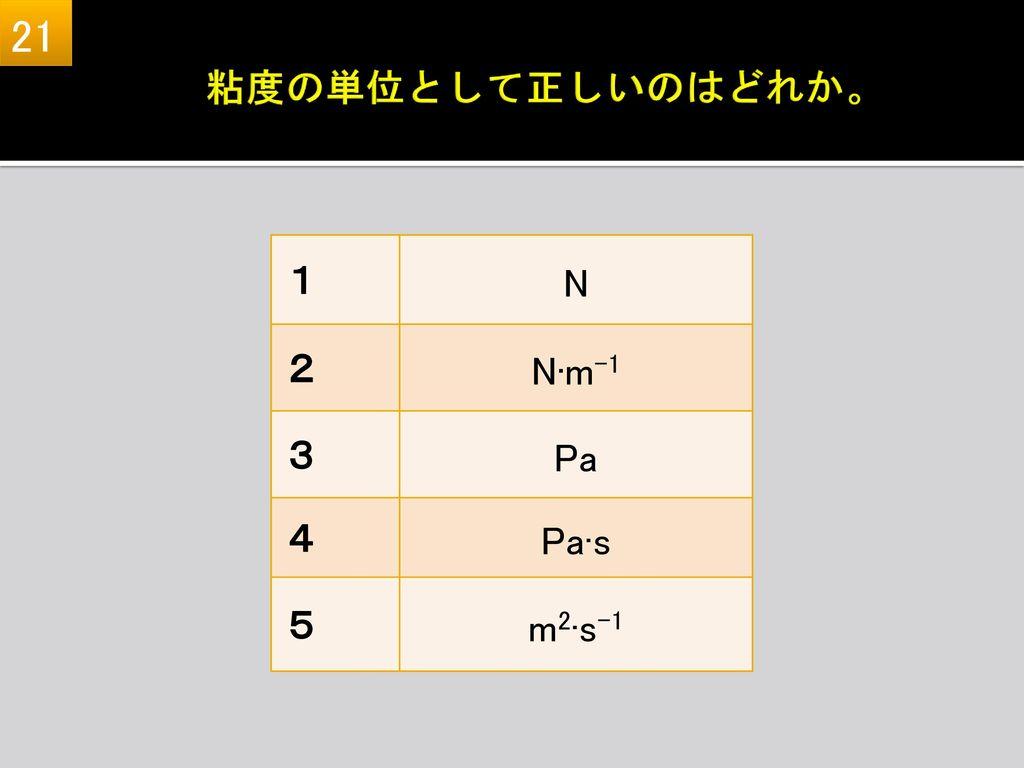 21 粘度の単位として正しいのはどれか。 1 N 2 N·m-1 3 Pa 4 Pa·s 5 m2·s-1 1 N (kg·m·s-2) 2