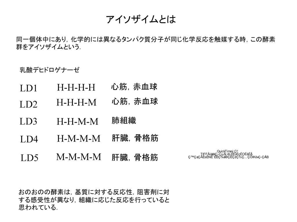 アイソザイムとは H-H-H-H LD1 H-H-H-M LD2 LD3 H-H-M-M LD4 H-M-M-M M-M-M-M LD5