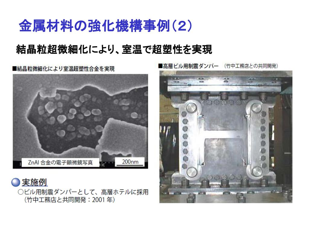 金属材料の強化機構事例(2) 結晶粒超微細化により、室温で超塑性を実現