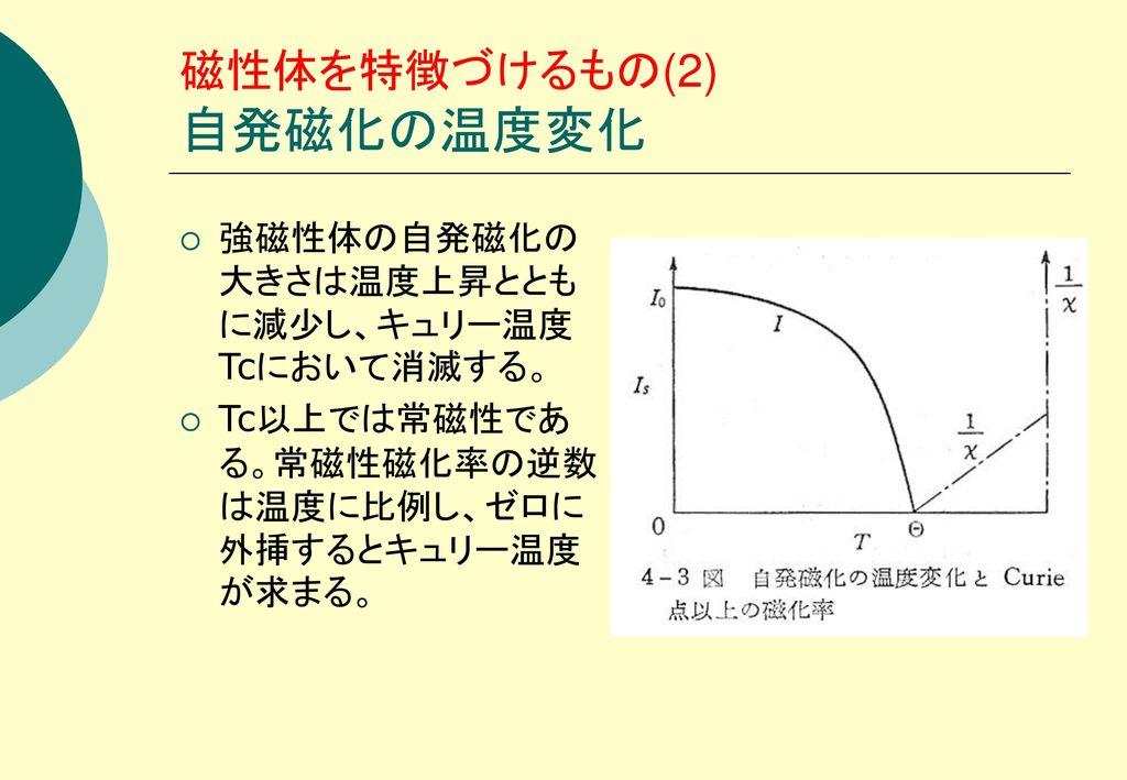 磁性体を特徴づけるもの(2) 自発磁化の温度変化