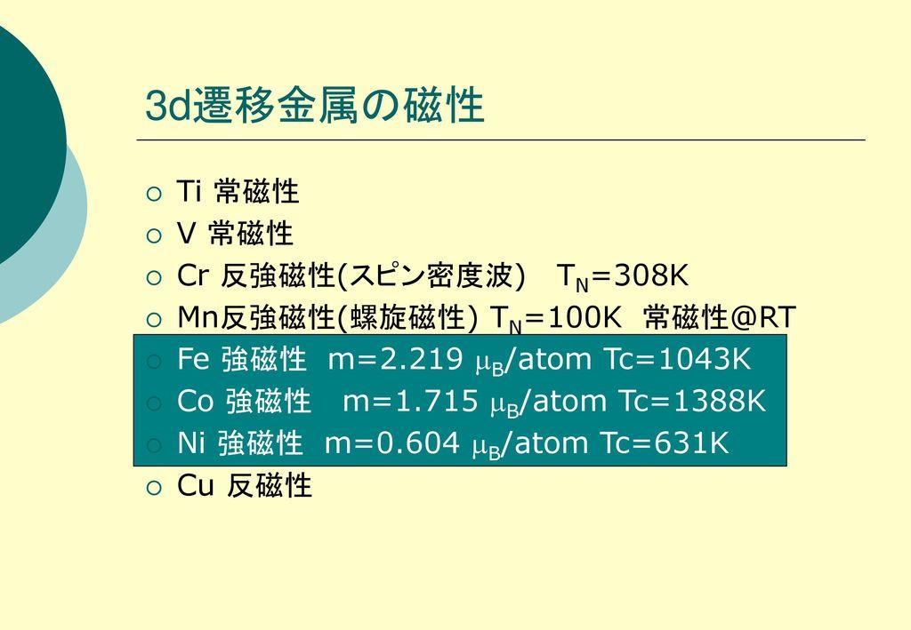 3d遷移金属の磁性 Ti 常磁性 V 常磁性 Cr 反強磁性(スピン密度波) TN=308K