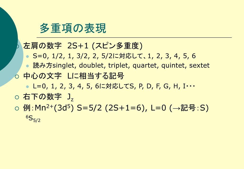 多重項の表現 左肩の数字 2S+1 (スピン多重度) 中心の文字 Lに相当する記号 右下の数字 Jz