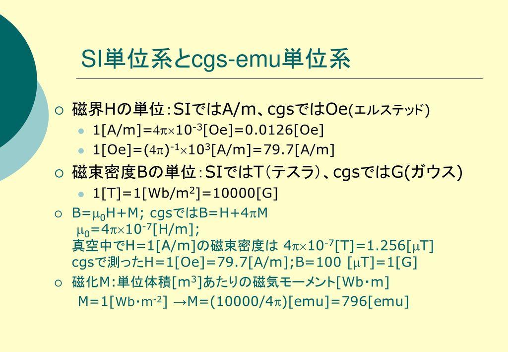 SI単位系とcgs-emu単位系 磁界Hの単位:SIではA/m、cgsではOe(エルステッド)