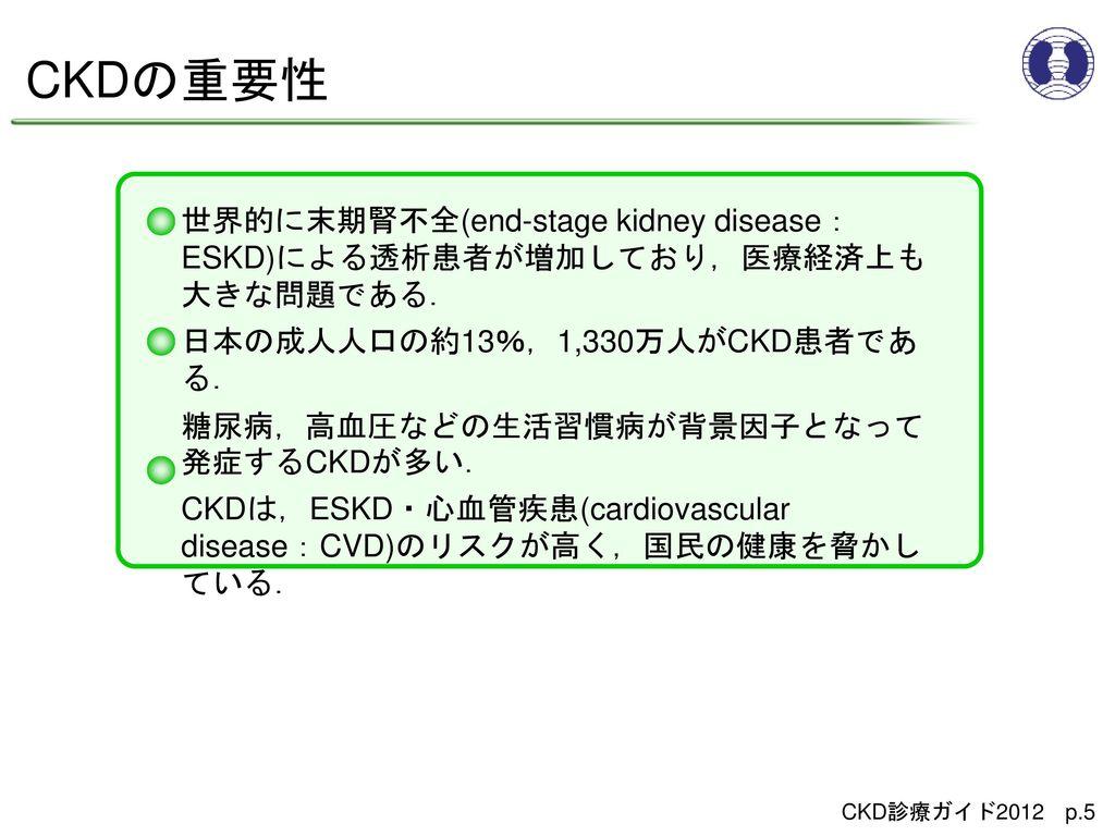CKDの重要性 世界的に末期腎不全(end-stage kidney disease:ESKD)による透析患者が増加しており,医療経済上も大きな問題である. 日本の成人人口の約13%,1,330万人がCKD患者である.