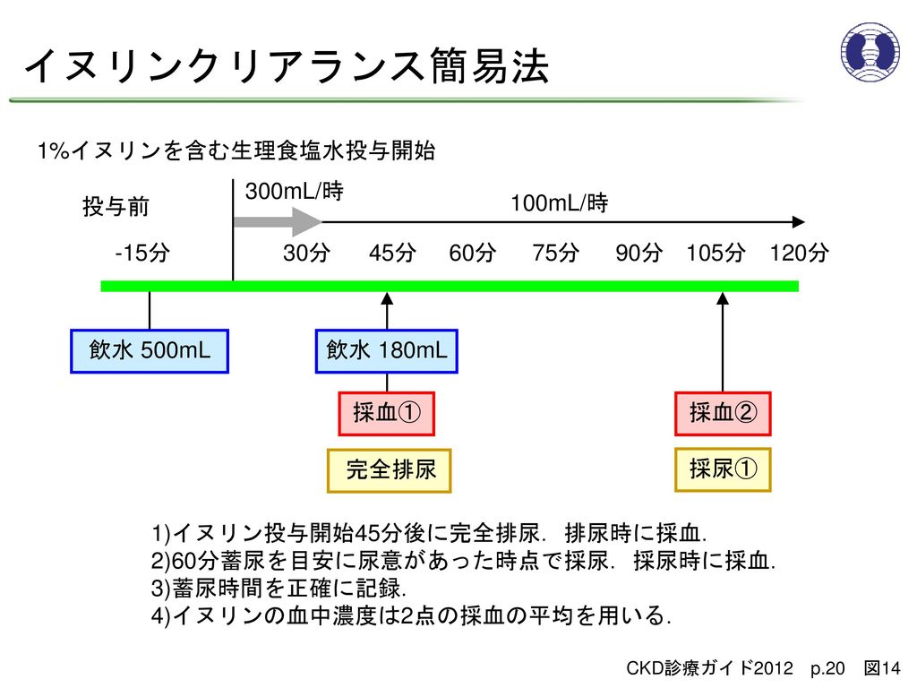 イヌリンクリアランス簡易法 1%イヌリンを含む生理食塩水投与開始 300mL/時 投与前 100mL/時 -15分 30分 45分 60分