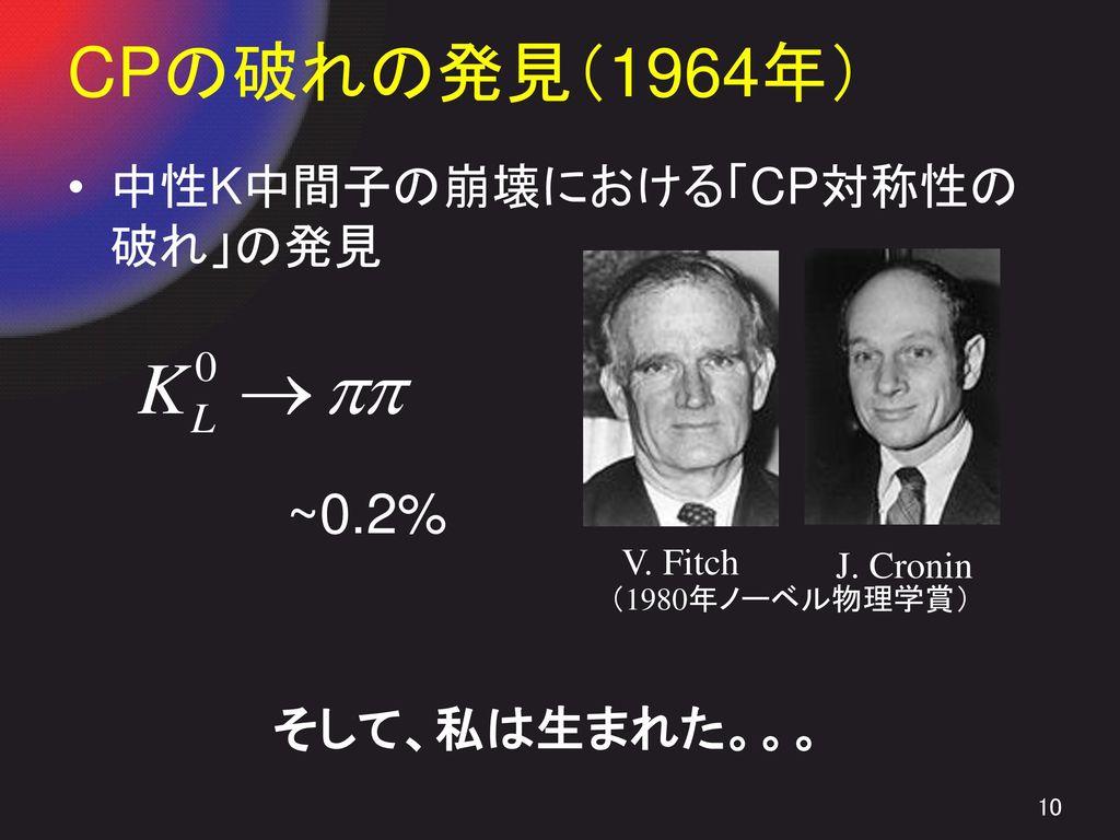 CPの破れの発見(1964年) ~0.2% 中性K中間子の崩壊における「CP対称性の破れ」の発見 そして、私は生まれた。。。