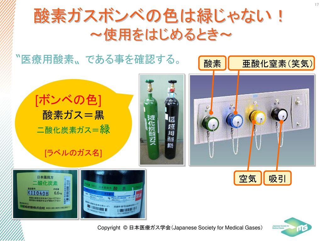 酸素ガスボンベの色は緑じゃない! ~使用をはじめるとき~