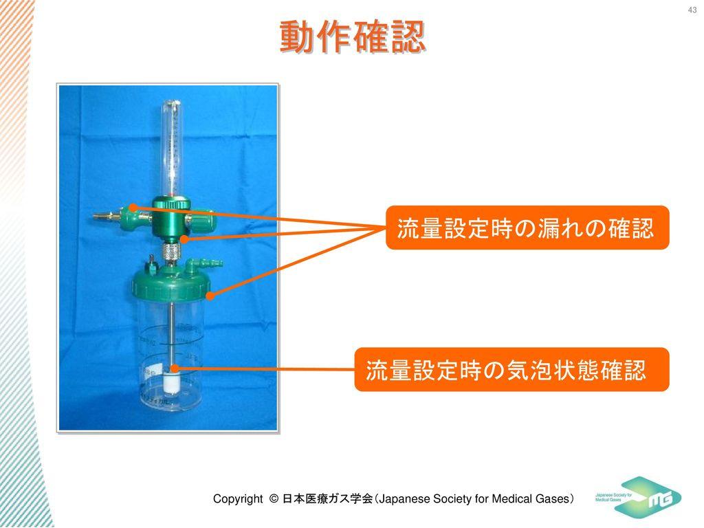 動作確認 流量設定時の漏れの確認 流量設定時の気泡状態確認 43