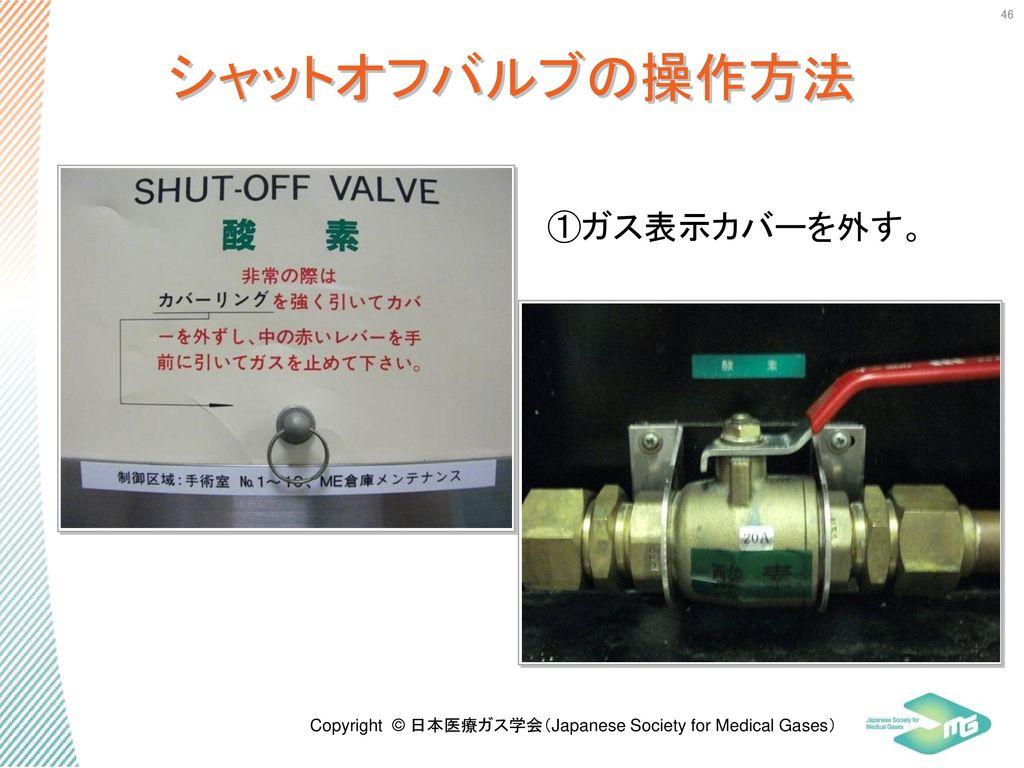 シャットオフバルブの操作方法 ①ガス表示カバーを外す。 46