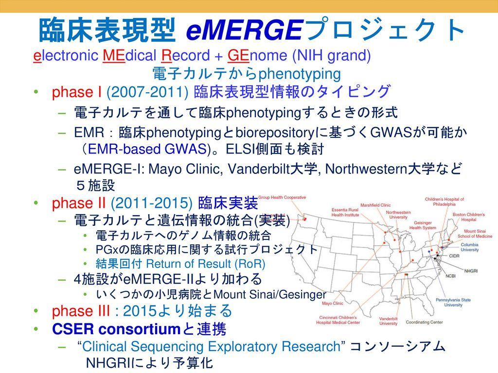 臨床表現型 eMERGEプロジェクト electronic MEdical Record + GEnome (NIH grand)