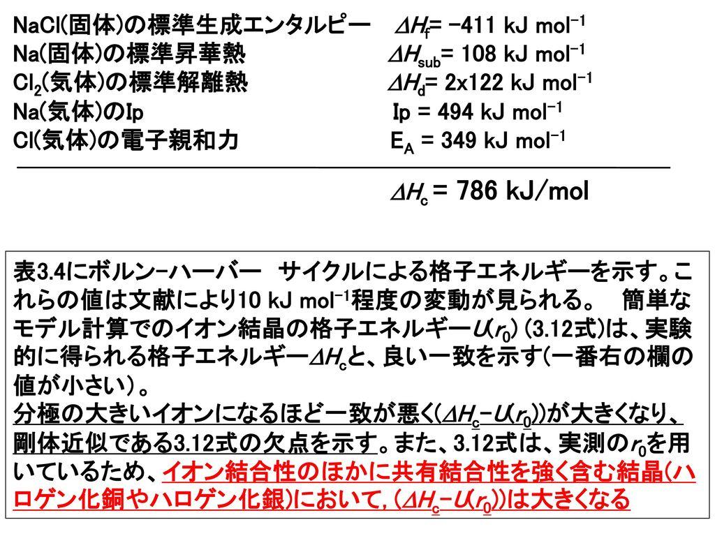NaCl(固体)の標準生成エンタルピー Hf= -411 kJ mol-1