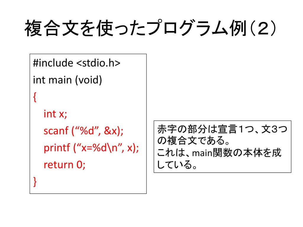 複合文を使ったプログラム例(2) #include <stdio.h> int main (void) { int x; scanf ( %d , &x); printf ( x=%d\n , x); return 0; }