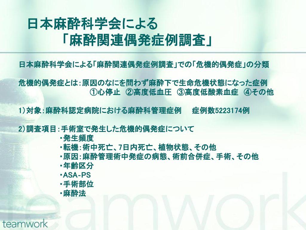 日本麻酔科学会による 「麻酔関連偶発症例調査」