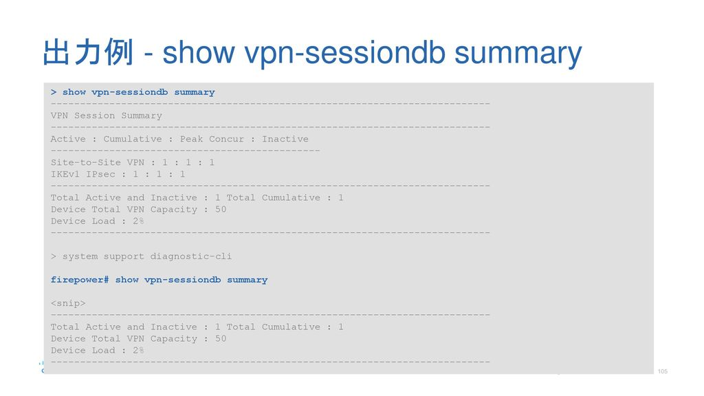 出力例 - show vpn-sessiondb summary