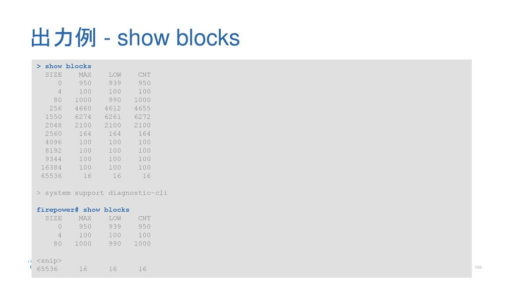 出力例 - show blocks > show blocks SIZE MAX LOW CNT
