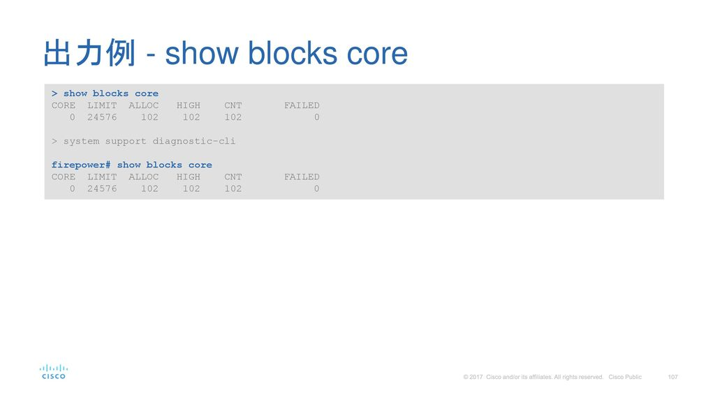 出力例 - show blocks core > show blocks core