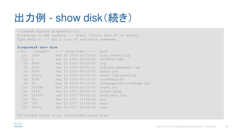 出力例 - show disk(続き) > system support diagnostic-cli