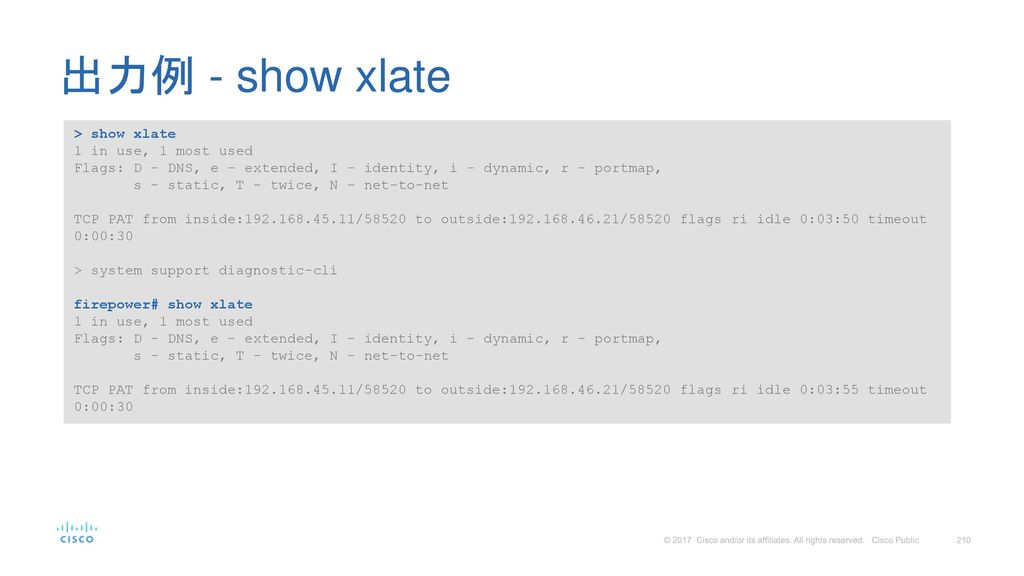出力例 - show xlate > show xlate 1 in use, 1 most used