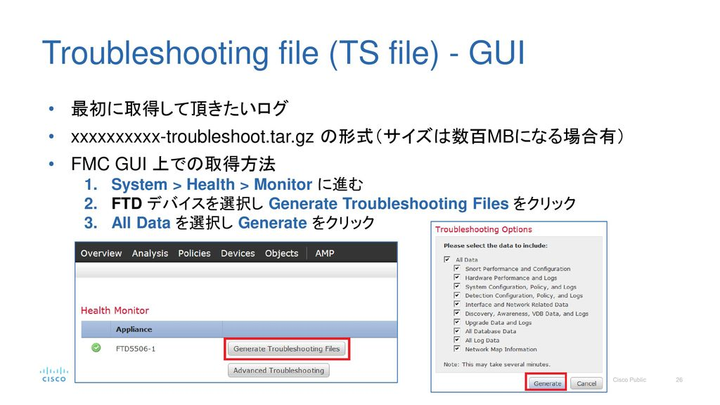 Troubleshooting file (TS file) - GUI