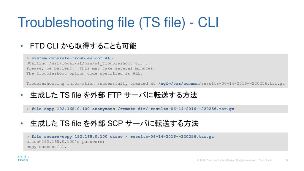 Troubleshooting file (TS file) - CLI