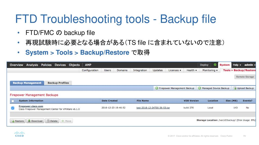 FTD Troubleshooting tools - Backup file