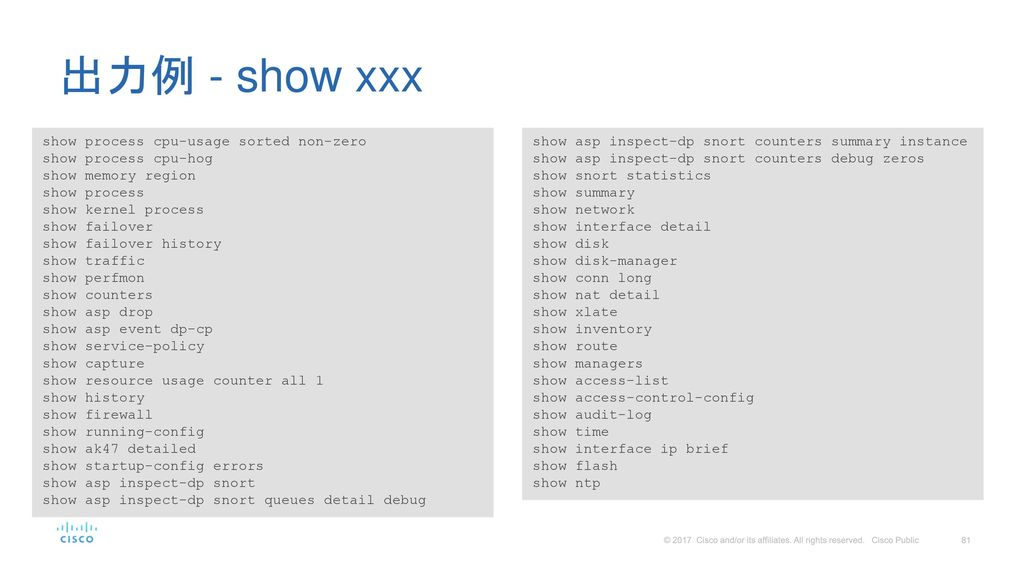 出力例 - show xxx show process cpu-usage sorted non-zero