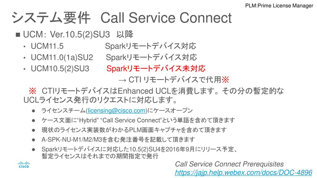 システム要件 Call Service Connect