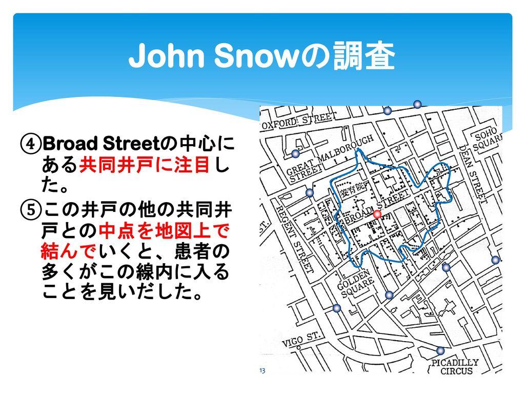 John Snowの調査 ④Broad Streetの中心にある共同井戸に注目した。