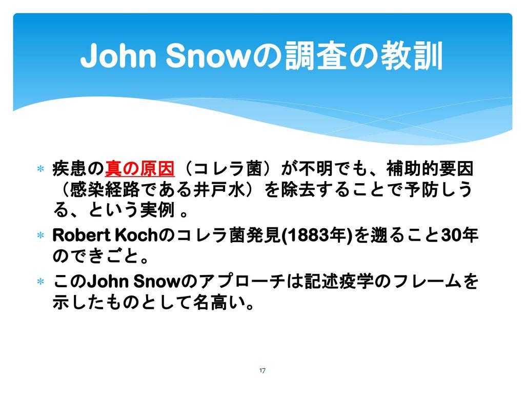 John Snowの調査の教訓 疾患の真の原因(コレラ菌)が不明でも、補助的要因(感染経路である井戸水)を除去することで予防しうる、という実例 。 Robert Kochのコレラ菌発見(1883年)を遡ること30年のできごと。