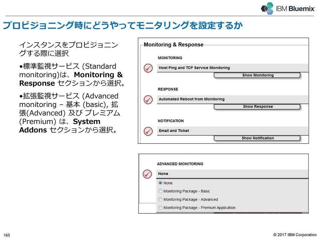 モニタリング概要 Bluemix Infrastructure監視サービス 標準監視サービス 拡張監視サービス 基本(Basic)