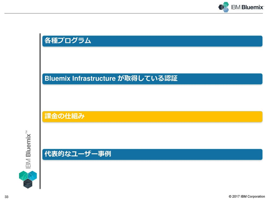 Bluemix が取得している主な認証関連の情報