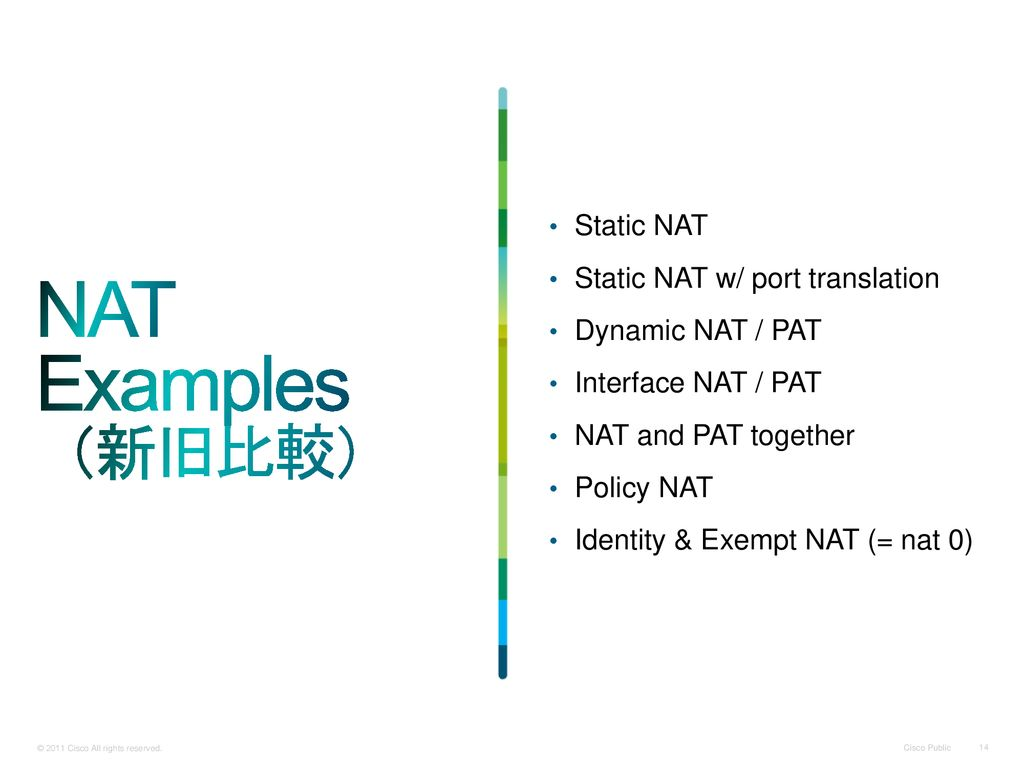 NAT Examples (新旧比較) Static NAT Static NAT w/ port translation