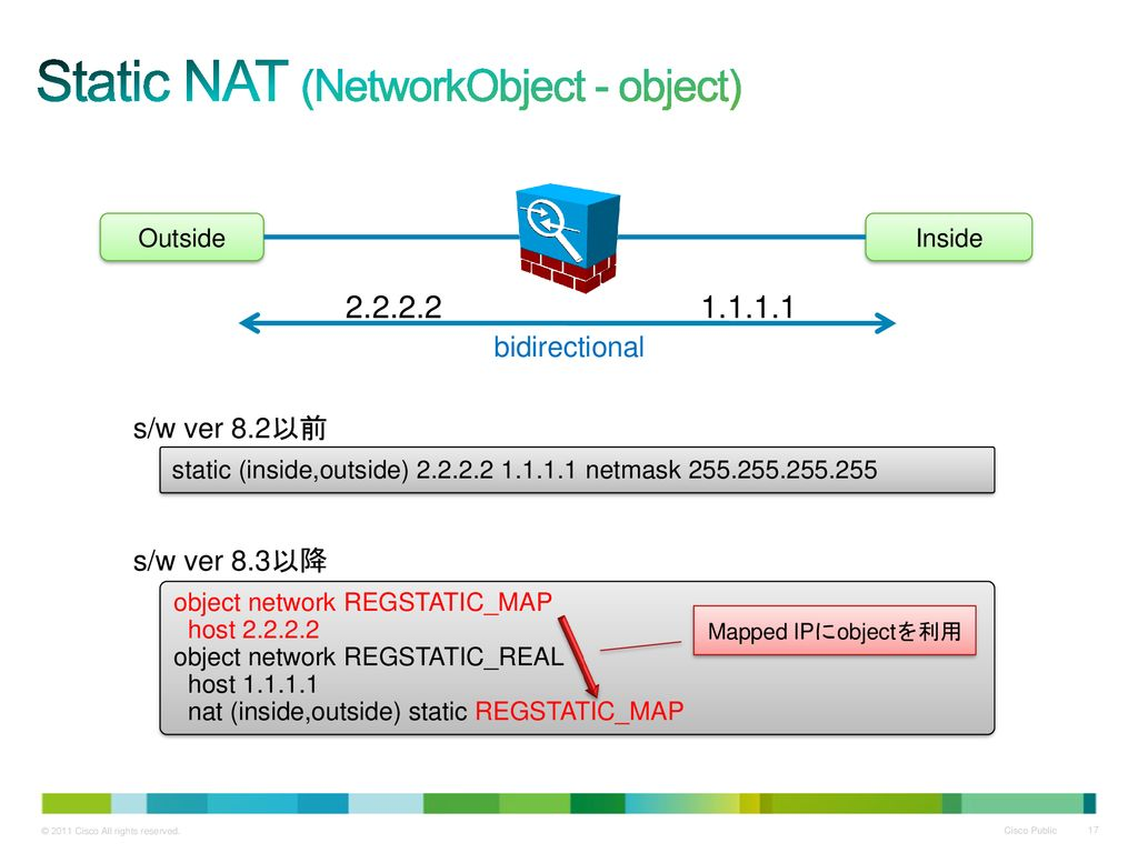 Static NAT (NetworkObject - object)