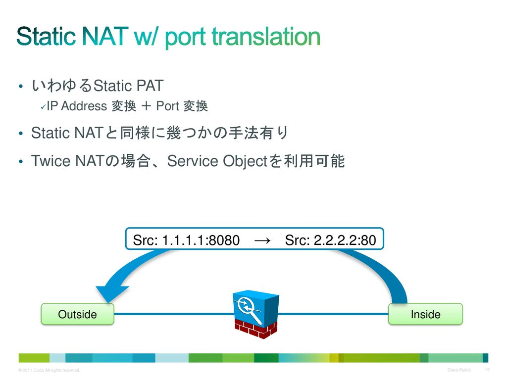 Static NAT w/ port translation
