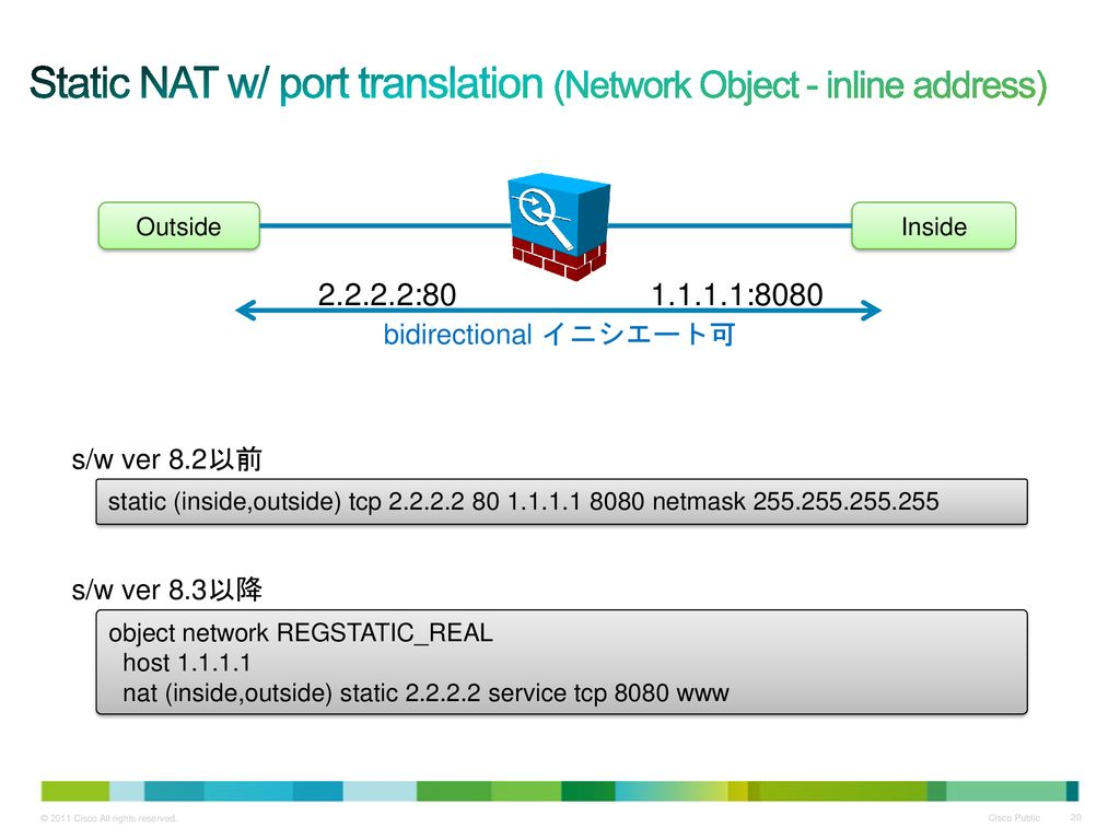 Static NAT w/ port translation (Network Object - inline address)