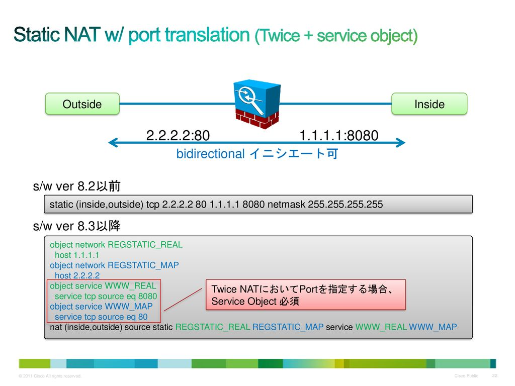 Static NAT w/ port translation (Twice + service object)