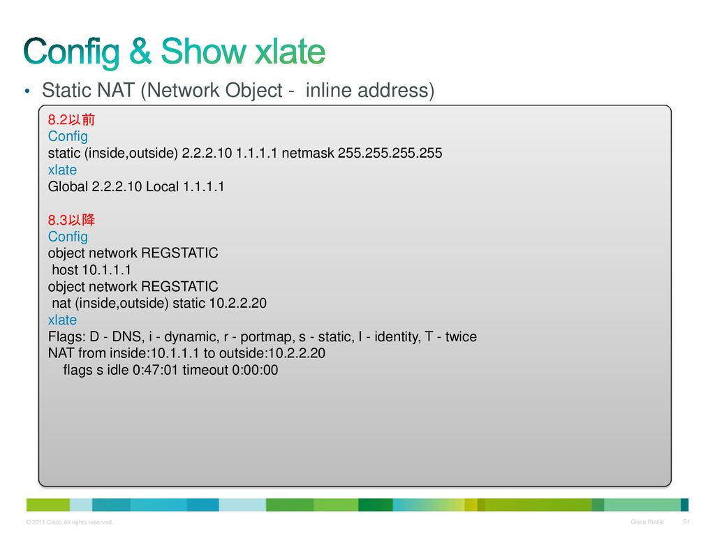 Config & Show xlate Static NAT (Network Object - inline address) 8.2以前