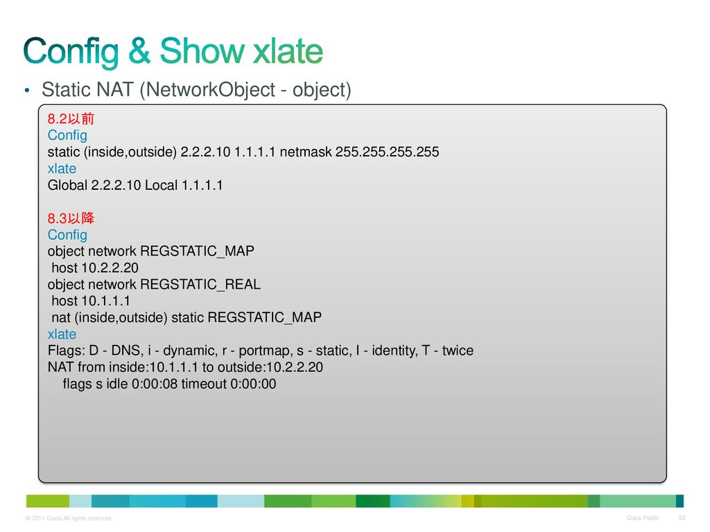 Config & Show xlate Static NAT (NetworkObject - object) 8.2以前 Config