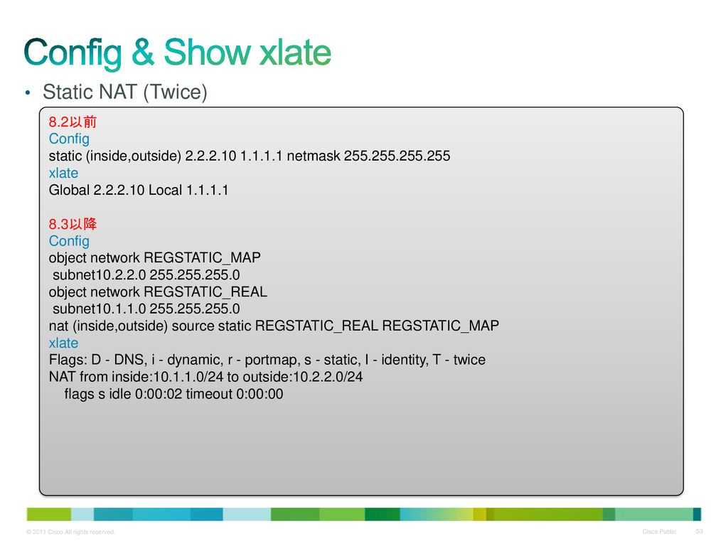 Config & Show xlate Static NAT (Twice) 8.2以前 Config