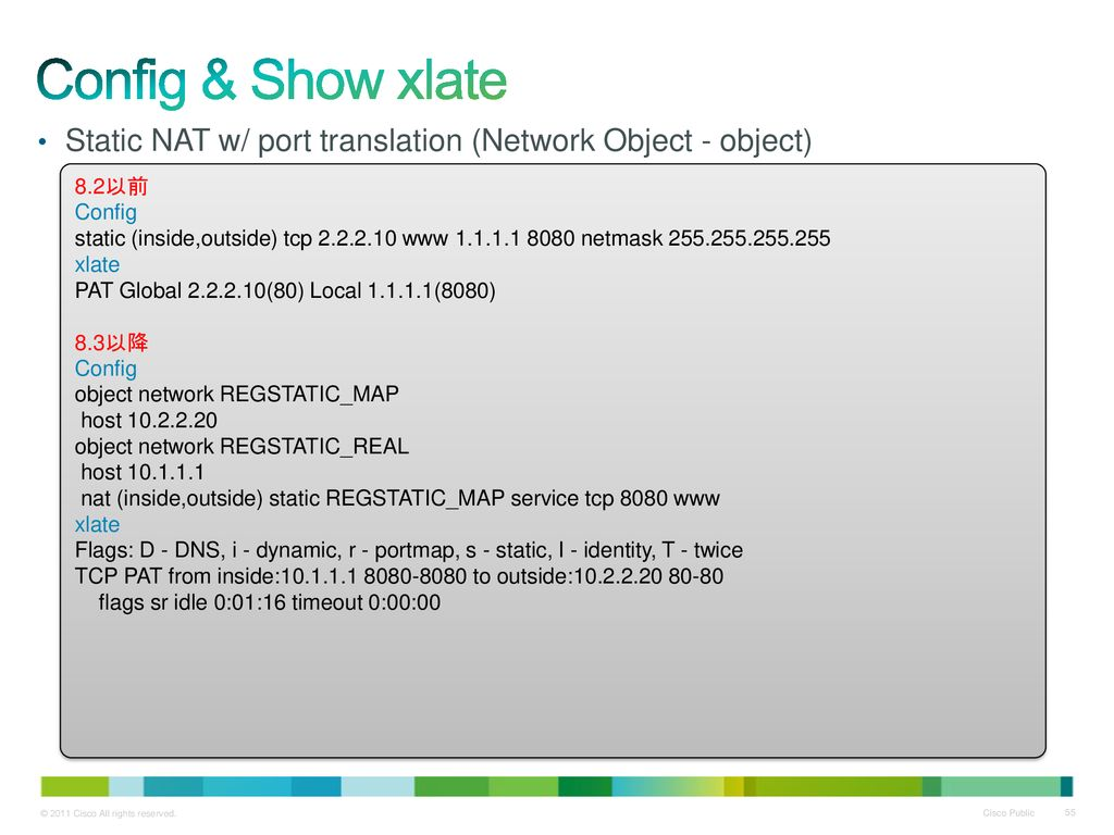 Config & Show xlate Static NAT w/ port translation (Network Object - object) 8.2以前. Config.