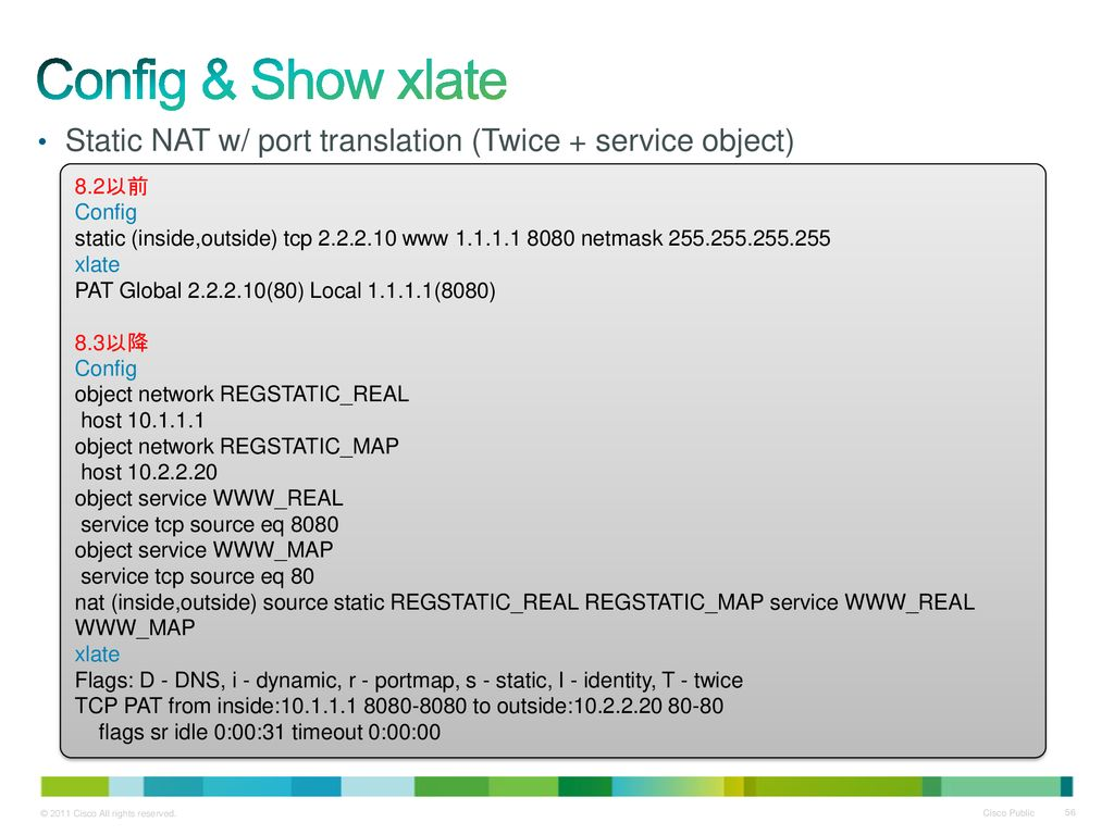 Config & Show xlate Static NAT w/ port translation (Twice + service object) 8.2以前. Config.