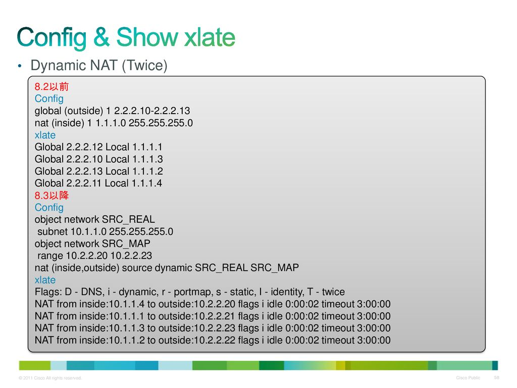 Config & Show xlate Dynamic NAT (Twice) 8.2以前 Config