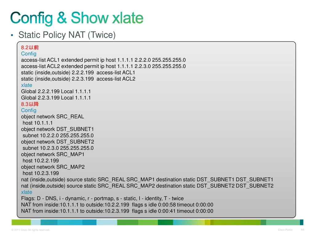 Config & Show xlate Static Policy NAT (Twice) 8.2以前 Config