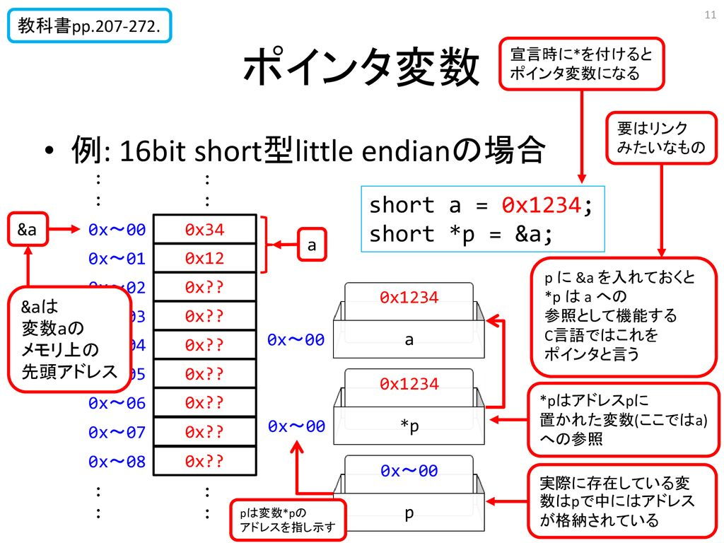 ポインタ変数 例: 16bit short型little endianの場合 short a = 0x1234;