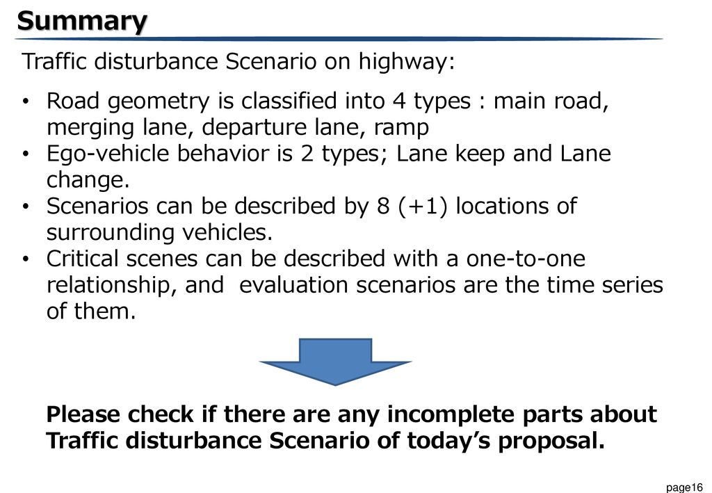 Summary Traffic disturbance Scenario on highway: