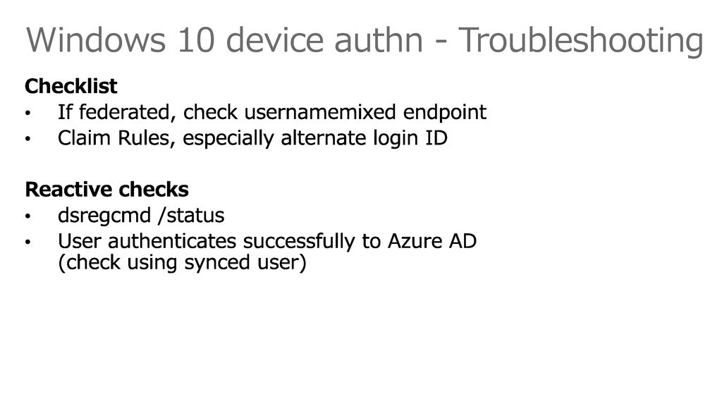 Windows 10 device authn - Troubleshooting